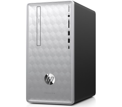 Персональный компьютер HP Pavilion 590-p0018ur/ AMD Ryzen 5 2400G/ 8GB/ 1TB/ DVD-RW/ WiFi/ BT/ Win10/ Natural Silver (4JR85EA#ACB)